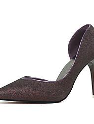 Для женщин Обувь на каблуках Полиуретан Лето На шпильке Черный Серебряный Синий Золотой Вино 7 - 9,5 см