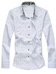 Men's Casual Slim Printed Long Sleeved Shirt,Cotton / Polyester Long Sleeve Blue / White