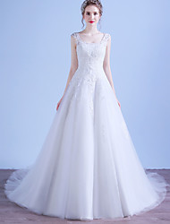 A-line Scoop Court Train Tulle Wedding Dress with Appliques