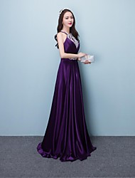 A-Line Halter Floor Length Silk Prom Formal Evening Dress with Beading Sequins