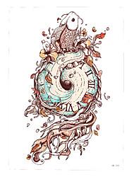 1pc Waterproof Fake Temporary Tattoo Sticker Geometry Clock Fish Body Sleeve Waist Art Tattoo for Women Men HB-359