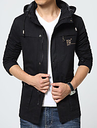 Men's Long Sleeve Casual / Work / Formal / Sport / Plus Size JacketCotton Solid Black / Green / Yellow