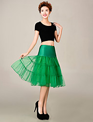 Slips Ball Gown Slip Knee-Length 3 Tulle Netting / Polyester Petticoats Green