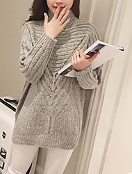 Normal Pullover Femme Sortie / Décontracté / Quotidien simple,Couleur Pleine Rouge / Gris / Jaune Col Roulé Manches Longues Acrylique