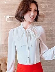 Mulheres Blusa Formal / Trabalho Simples / Fofo Primavera / Outono,Sólido Branco Poliéster Colarinho Chinês Manga Longa Fina