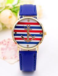 mulheres / pulseira de couro vermelho / branco / azul listra caso âncora de quartzo analógico vestido da forma da senhora relógio ocasional
