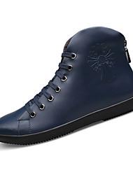 Femme-Décontracté-Noir / Bleu-Plateforme-Confort-Bottes-Cuir