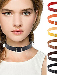 13 Colors Vintage Goth Rock Punk  Leather Collar Choker Necklace Clavicle Necklaces Jewelry