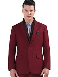 2017 Suits Standard Fit Notch Single Breasted Two-buttons Polyester Solid 2 Pieces Burgundy Slanted Flapped