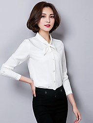 Women's Stand Collar Solid Color Chiffon Long Sleeve Blouses