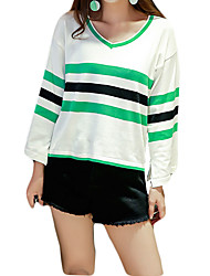 Women's Regular Pullover,Striped Blue / Red / Black / Green Round Neck Long Sleeve Wool / Cotton Fall Medium