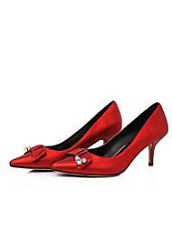 Damen-High Heels-Outddor / Lässig-Leder-Stöckelabsatz-Absätze-Rot / Grau
