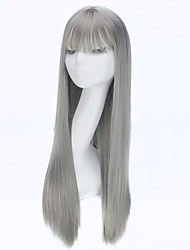 2016 Fashion Straight Long Wig Natural Anime Hair Cosplay Wig Synthetic Wigs for Women Gray Color