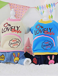 Dog Coat Blue / Yellow / Beige Winter Cartoon / Letter & Number Casual/Daily, Dog Clothes / Dog Clothing