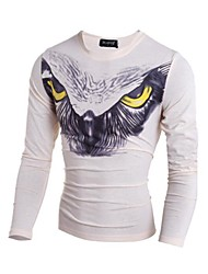 Print-Informeel-Heren-Katoen-T-shirt-Lange mouw Zwart / Wit / Beige