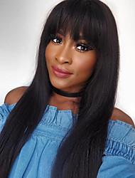 cabelo humano reto rendas frente perucas com franja brasileiros perucas completas para as mulheres negras cor frente perucas 2 do laço