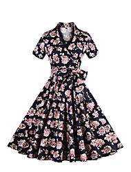 Mujer Vaina Vestido Tallas Grandes Vintage,Floral Escote en Pico Hasta la Rodilla Manga Corta Azul Algodón / Poliéster Verano Tiro Alto