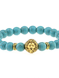 Fashion Nature Turquoise Beads Bracelet Men Gold Lionhead Pendant Elastic Bracelets Women Jewelry