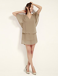 JoanneKitten Women's Sexy / Party / Cocktail / Work Solid Loose / Chiffon Dress , V Neck Above Knee Polyester