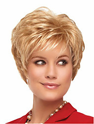Capless Short Straight Side Bang Synthetic Wigs for Women Golden Heat Resistant with Free Hair Net