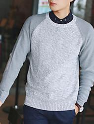 Herren Pullover-Einfarbig Freizeit Baumwolle Lang Schwarz / Blau / Grau