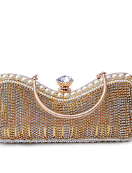 L.west Women Elegant High-grade Pearl Diamonds Evening Bag