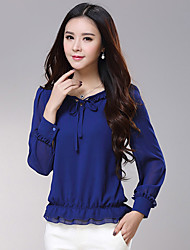 2016 spring new long sleeved chiffon shirt large size women T-shirt flounce thin coat