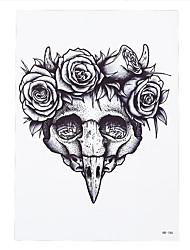 1pc Women Body Art Beauty Makeup Rose Flower Skull Tattoo Women Men Temporary Tattoo Sticker HB-186