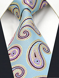 Men's Tie  Blue Jacquard Woven 100% Silk Business Dress Casual Long