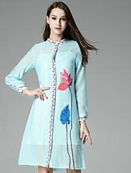 casual / mudança vestido vintage diária das klimeda mulheres, floral tripulação pescoço na altura do joelho queda de poliéster de manga longa
