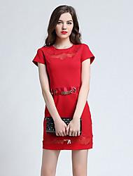 las mujeres Joj va a salir vaina de vestir lindo, cuello redondo sólido por encima de manga corta de algodón rojo de primavera de la rodilla