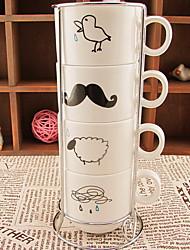 pingos de chuva zakka copo de café de supermercado retro define casa com uma família de quatro pilhas de placa de vidro copo de cerâmica