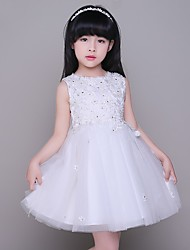 A-line Short / Mini Flower Girl Dress - Tulle Jewel with Lace