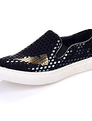 Herren-Flache Schuhe-Lässig-Kunststoff-Flacher Absatz Creepers-Komfort-Silber Gold