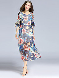 JOJ  Women's Going out Sexy / Cute Sheath Dress,Floral Round Neck Midi ¾ Sleeve