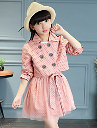 Girl's Cotton Spring/Summer/Autumn Fashion Polka Dot Casual Lace Sleeveless Skirt And Short Trench Coat Two-piece Set