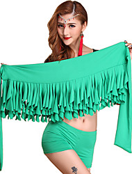 Belly Dance Bottoms Women's Performance Cotton Pleated 1 Piece Green Belly Dance Sleeveless Dropped Hip Scarf
