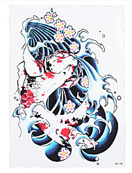 1pc Water Transfer Waterproof Temporary Decal Red Scale Fish for Women Men Body Art Tattoo Sticker HB-108