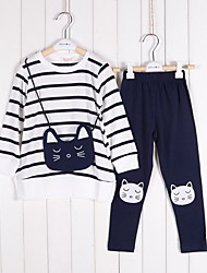 Girl's Cotton Spring/Autumn Female Child Stripe Clothing Top And Pants Set Two-piece Set