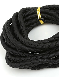 Beadia 6mm Round Black Braided PU Leather Cord Rope String (3Mts)