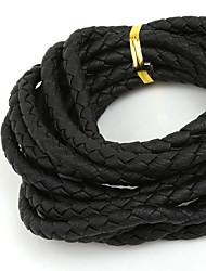 beadia 6 milímetros rodada preto trançado cordão de couro PU corda (3mts)