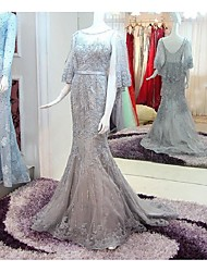 Formal Evening Dress Trumpet / Mermaid Scoop Court Train Lace / Satin with Lace / Sequins