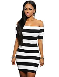 Women's Black White Striped Off Shoulder Mini Dress
