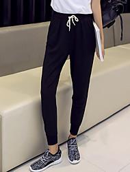 Mulheres Calças Simples Chinos Algodão Sem Elasticidade Mulheres