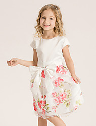 Girl's Casual/Daily Floral Dress,Cotton Summer / Spring Orange / Pink