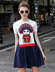 Frauen geht aus chinoiserie Pullover Kleid, bestickt Rundhalsausschnitt über Knie kurze Ärmel blau andere iloveknitting fallen