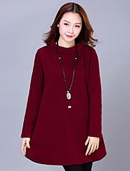 Mujer Vaina Vestido Casual/Diario / Tallas Grandes Chic de Calle,Un Color Cuello Alto Sobre la rodilla Manga Larga Azul / Rojo / Negro