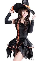 Costumes de Cosplay / Costume de Soirée Sorcier/Sorcière Fête / Célébration Déguisement Halloween Noir Couleur Pleine Robe / Chapeau