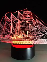 Creative 3D огни 3D LED ночь свет красочный градиент акриловую атмосфера лампа парусное судно форма обесцвечивание лампы