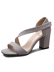Women's Sandals Square Toe Fleece heels Chunky Summer Sandal with Magic Tape Dress/Casual More Colors Available